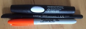 3 pens - Neuland No One Marker #102, orange Sharpie, edding 1200 black felt pen