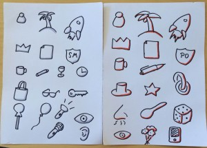 Side by side comparision of sketchnote symbols with shadows vs. Highlights